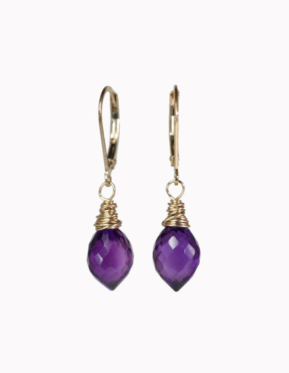 Amethyst Gemstone Teardrop Earrings* amethyst earring* February birthstone birthday gift for her * purple stone* African amethyst*women's