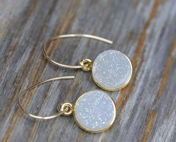 Simple Druzy Dangle Earrings WHITE- CHARCOAL GRAY