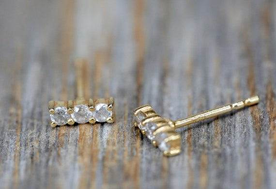 Genuine Diamond Bar Stud earring*Dainty diamond bar stud*diamond staple stud*solid 14k gold*real white brilliant cut diamonds