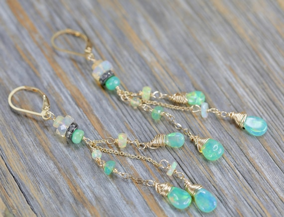 Green Ethiopian Opal Cascade Earrings Pave Diamond Long thin Earring Wedding Jewelry October birthstone beaded Earring bridal Mother's Day