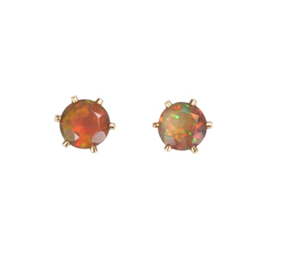 Ethiopian Opal Studs-Black Opal Stud Earrings-14k Gold Filled Prong Stud-5mm Studs-Ethiopian Welo Opal-Fire Orange Opal Gemstone