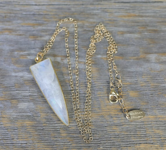 Rainbow Moonstone Gemstone Pendant Necklace-Bezel Set Triangle- Women's Jewelry Gift Idea- 18 Inch Length- 14k gold filled