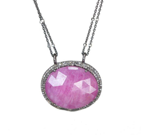 Genuine Large Ruby and Diamond oval Pendant Necklace