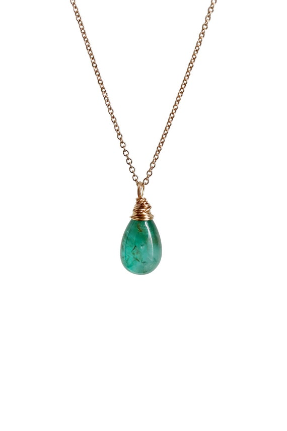 14k Gold Genuine Emerald Necklace 4.5 carat Genuine all-natural Emerald Necklace Women's Fine Jewelry Gift Idea