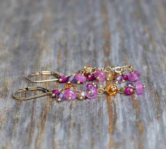 RUBY, Amethyst, Pink and YELLOW Sapphires, Mandarin Garnet Cascade Earrings * genuine gemstone earrings pink orange red purple* gift for her