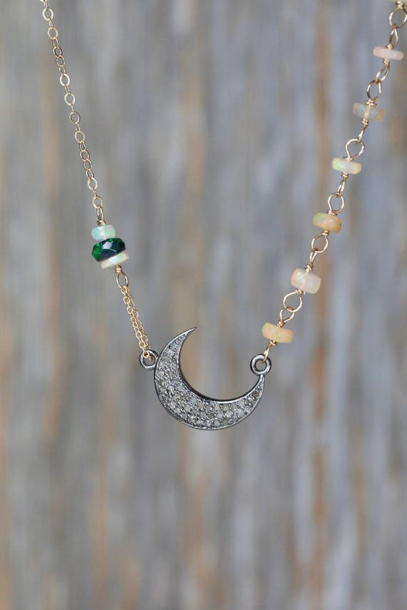 Sideways Pave Diamond Crescent Moon Necklace Ethiopian black opal white opal oxidized silver moon choker necklace gift for her