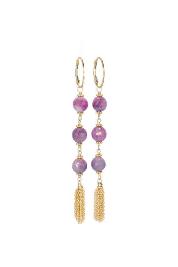 Purple sapphire earring -tassel earring-Pink sapphire-Pink purple gemstone tassel earring-Genuine sapphire-long tassel earring-gift for her