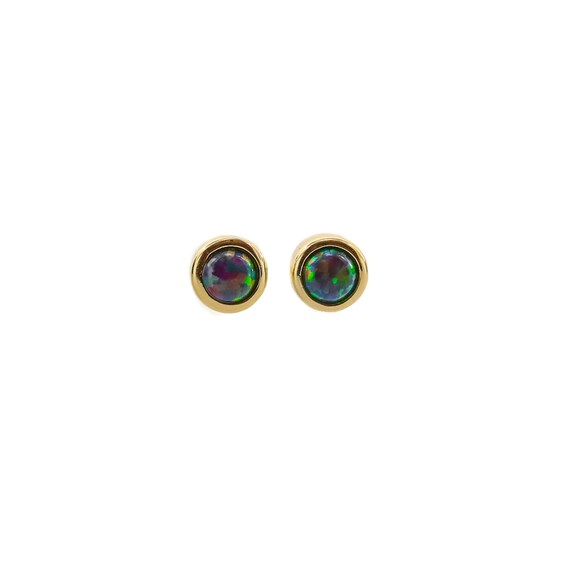 Opal Stud Earring- 5mm- Choices- Gold- Silver- Black or White Opal- Women's Jewelry Gift Idea- Mother's Day
