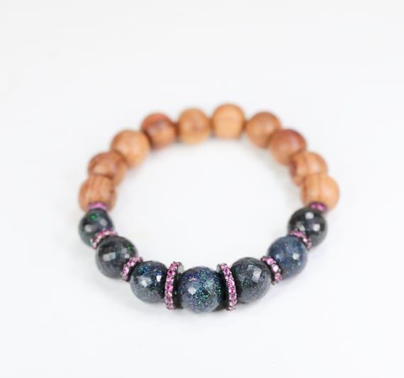 RARE Black opal bracelet Australian matrix black opal pink sapphire pave sapphire October birthstone October birthday gift for her