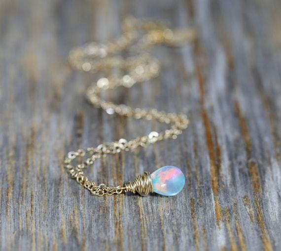 Small Opal Necklace *14k Gold Filled *Ethiopian Welo Opal Gemstone *Women's Jewelry* Mother's Day Gift Idea* Graduation