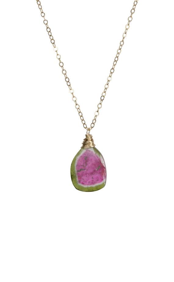 Watermelon Tourmaline Necklace tourmaline gemstone tourmaline slice tourmaline pendant pink and green October birthstone Gift for her
