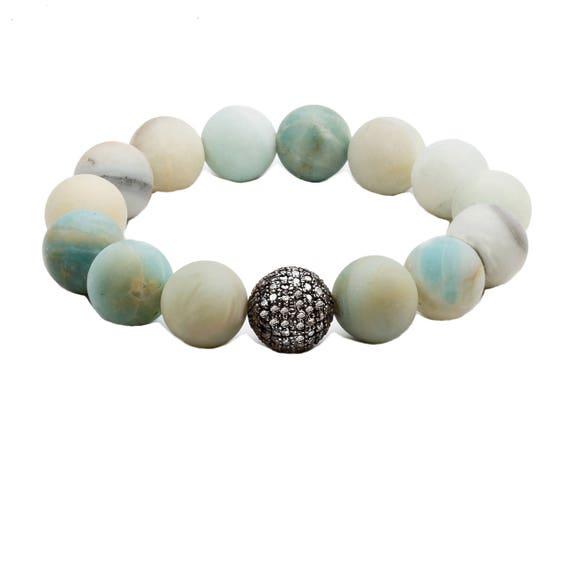 Matte Amazonite Pave Diamond bracelet *simple modern and elegant