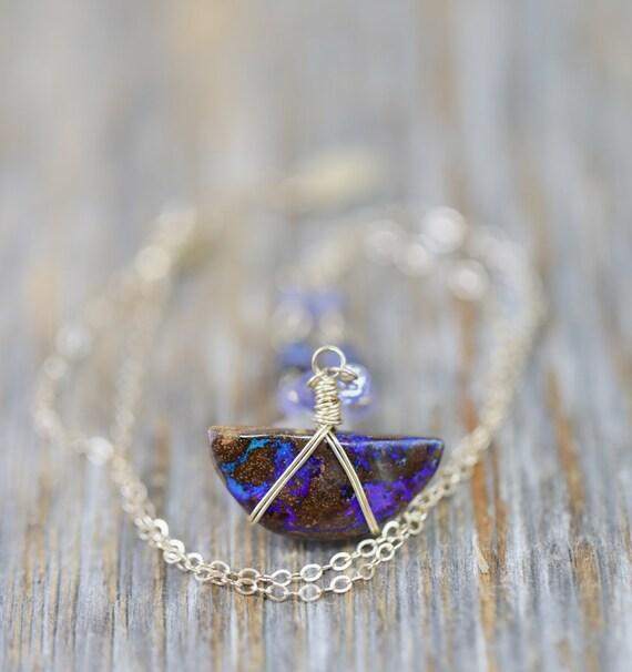 Australian Boulder Opal Pendant Necklace