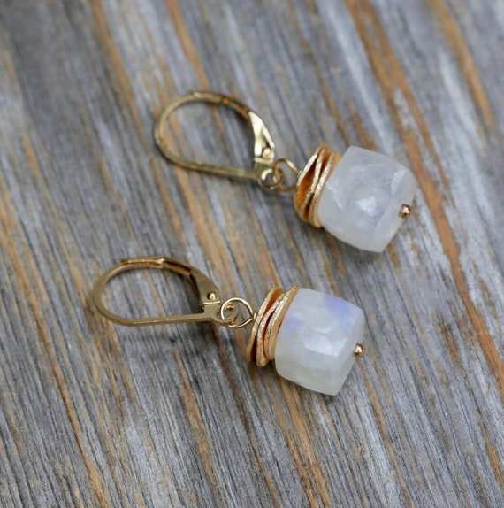 Rainbow Moonstone Gemstone earring June birthstone Gift for her  simple modern elegant gold faceted moonstone cube earring