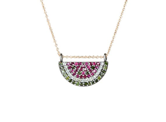 Nadean's version of the On Trend Fruits! The Perfect Pave Tourmaline and Sapphire WATERMELON PENDANT necklace *