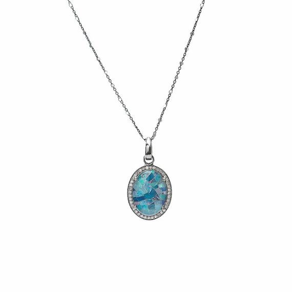 Genuine Australian Opal Pendant Necklace*Genuine Pave Diamonds Oxidized Sterling Silver* Women's October Birthstone Birthday Gift Idea