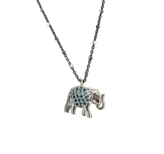 Diamond elephant necklace GENUINE pave diamond elephant oxidized sterling silver gift for her elephant pendant necklace