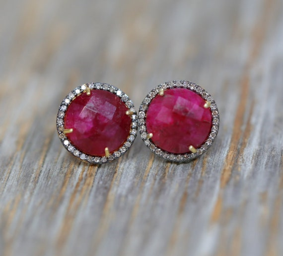 Large Ruby Pave Diamond stud earrings *14k gold vermeil with oxidized sterling silver mixed metal statement halo studs* Valentine's Day Gift