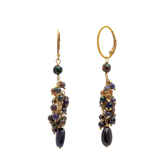 Black Opal Caviar Earring- Genuine Ethiopian Opal with blue and green colors- 14k Gold Filled- Holiday Gift Idea for Her