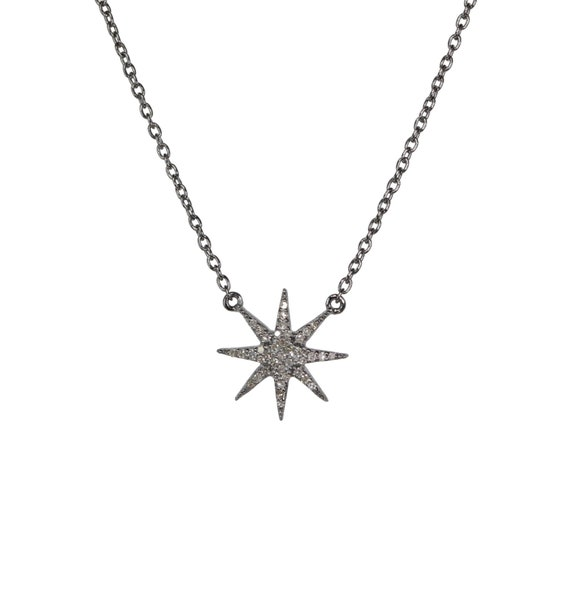 Pave DIAMOND STAR necklace* genuine pave diamonds oxidized sterling silver *Women's Jewelry Gift Idea* holiday Christmas *diamond necklace