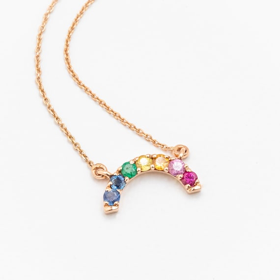 RAINBOW Gemstone pendant Necklace- Dainty Fine Gemstone Rainbow Necklace- 14k gold- Gift for Her- Emerald and sapphire gemstones