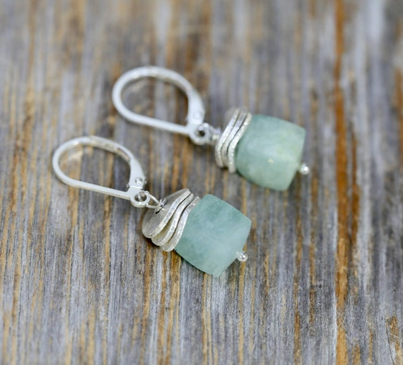 Aquamarine Gemstone earring* cube earring* Gift for her* Sterling Silver Geometric Short Earring*March Birthstone Birthday Gift Idea for Her