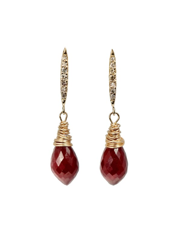 14k Gold Ruby Teardrop Gemstone Earrings- White Diamond 14k Gold Post Earring- July Birthstone Gift Idea for Her Fine Jewelry