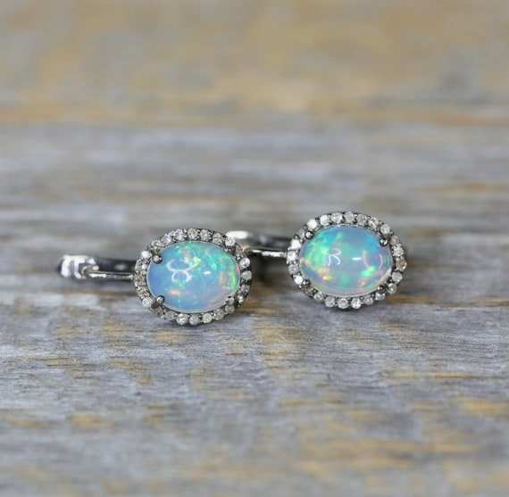 Ethiopian Welo Opal Diamond Drop Earrings- oxidized sterling silver- pave diamond halo lever back earring* October Birthstone Birthday Gift