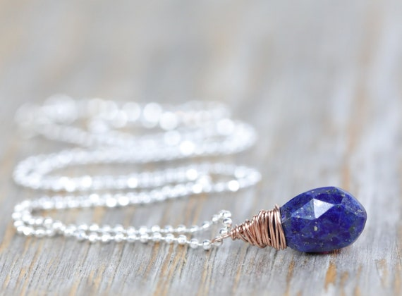 Blue sapphire necklace * Mixed Metal* sterling silver rose gold sapphire necklace September birthstone gift for her simple elegant