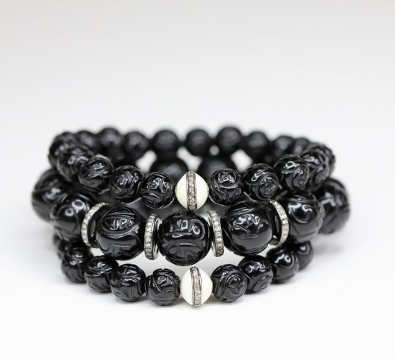 Carved Black onyx Pave diamond  bracelet sterling silver Black and white Gift for Her Holiday Dragon Bracelet