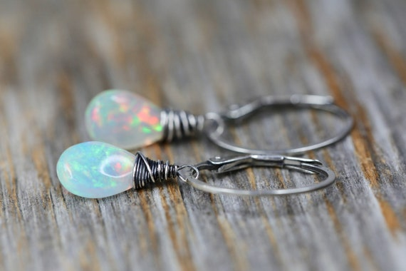 Opal Earring white opal drop earring October birthstone October birthday gift for her Ethiopian opal sterling silver oxidized