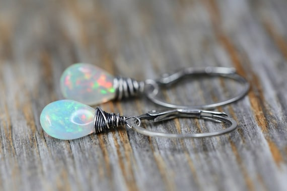 Opal Earring Faceted white opal drop earring October birthstone October birthday gift for her Ethiopian opal sterling silver oxidized