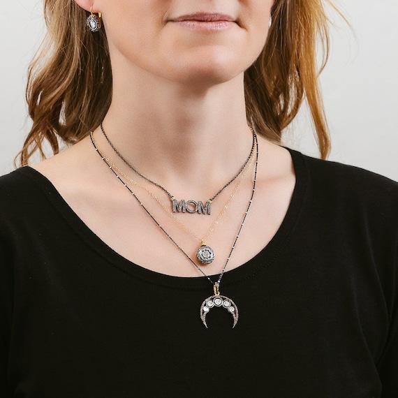 Rose Cut Diamond Moon Necklace * Upside down Genuine Crescent Moon Pendent* Women's Gift Idea* Mother's Day* Anniversary*Wedding* Graduation