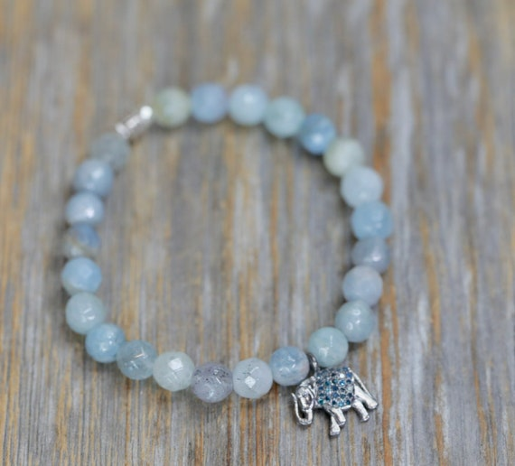 Aquamarine Blue Diamond Elephant Stretch Bracelet- Genuine Aquamarine Gemstones and Pave Blue Diamonds- Women's Gift Idea for Her