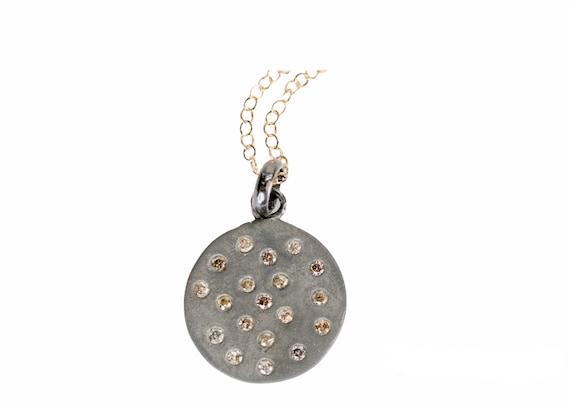 Diamond Disc Necklace Genuine Diamond Pendant Necklace*Matte Sterling Silver* 14K Gold* Women's Jewelry* Gift Idea for Her*Graduation