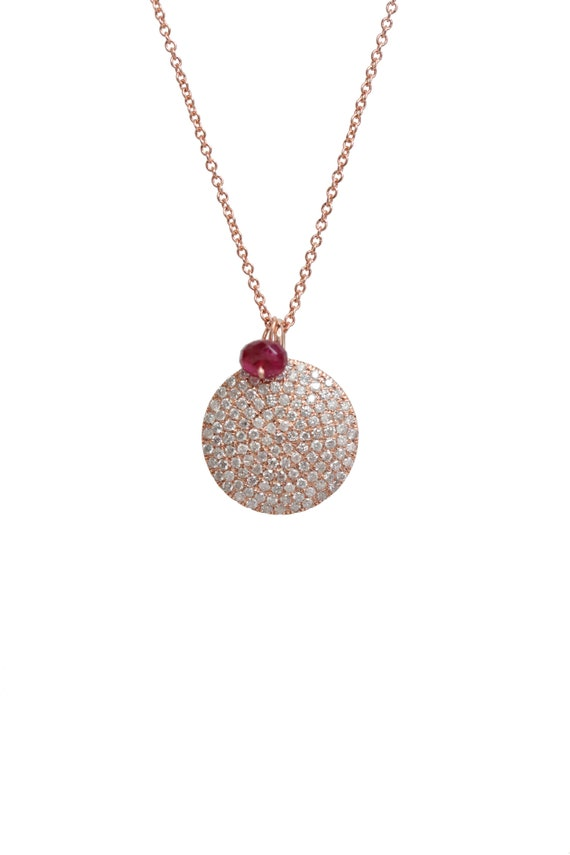 14k Rose Gold Pave Diamond Disc Necklace - full cut white diamonds (.34cts)- gift for her- Graduation Wedding Mother's Day Gift for Her