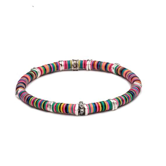 Colorful bracelet african vinyl bracelet jigida bead vinyl record bracelet boho stack bracelet pave diamond