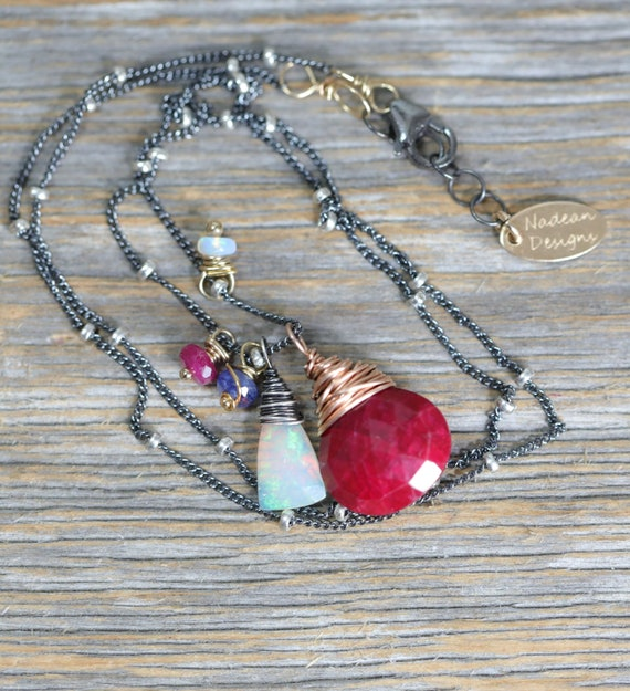 Opal Ruby Gemstone Pendant Necklace* October Birthstone Birthday* Women's Jewelry Gift Idea