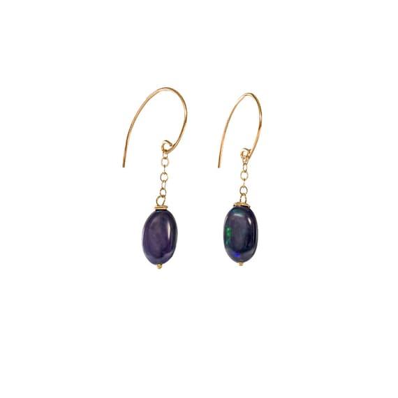 Black Blue Opal Single Oval Drop Earring*Genuine Ethiopian Opal*14k Gold Filled*Mother's Day Gift Idea for Her*Women's Jewelry*Graduation