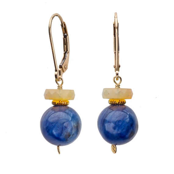 Kyanite and Heishi Cut Welo Opal Earring