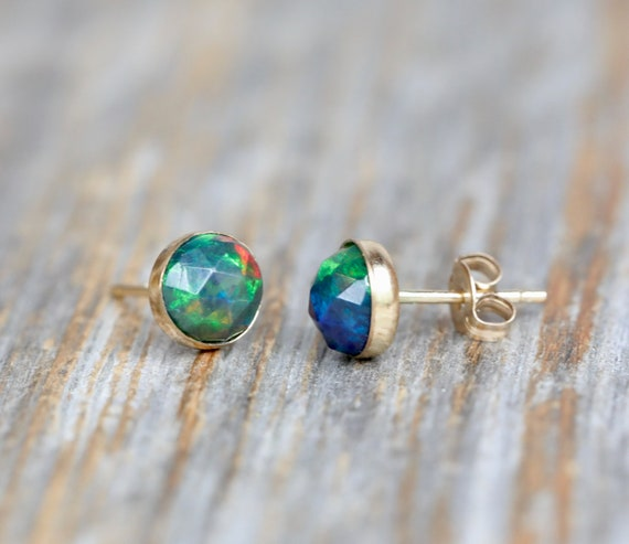Ethiopian Black Opal Studs-Black Opal Gemstone-Bezel Set Stud Earring-October birthstone-Black and Blue Studs- rose cut- gift for her