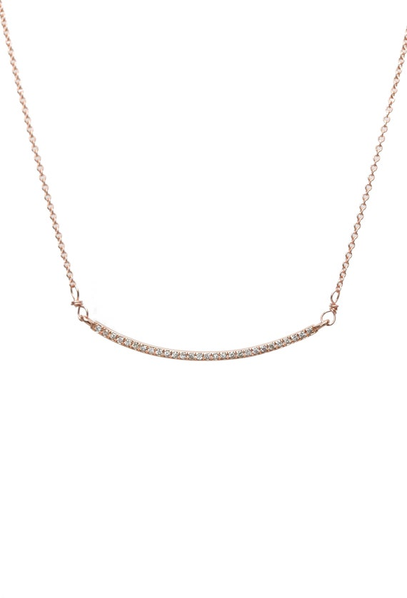14k Rose Gold Diamond Curved Bar Necklace- Smile Necklace- white diamonds solid 14k gold - gift for Her- Fine Jewelry