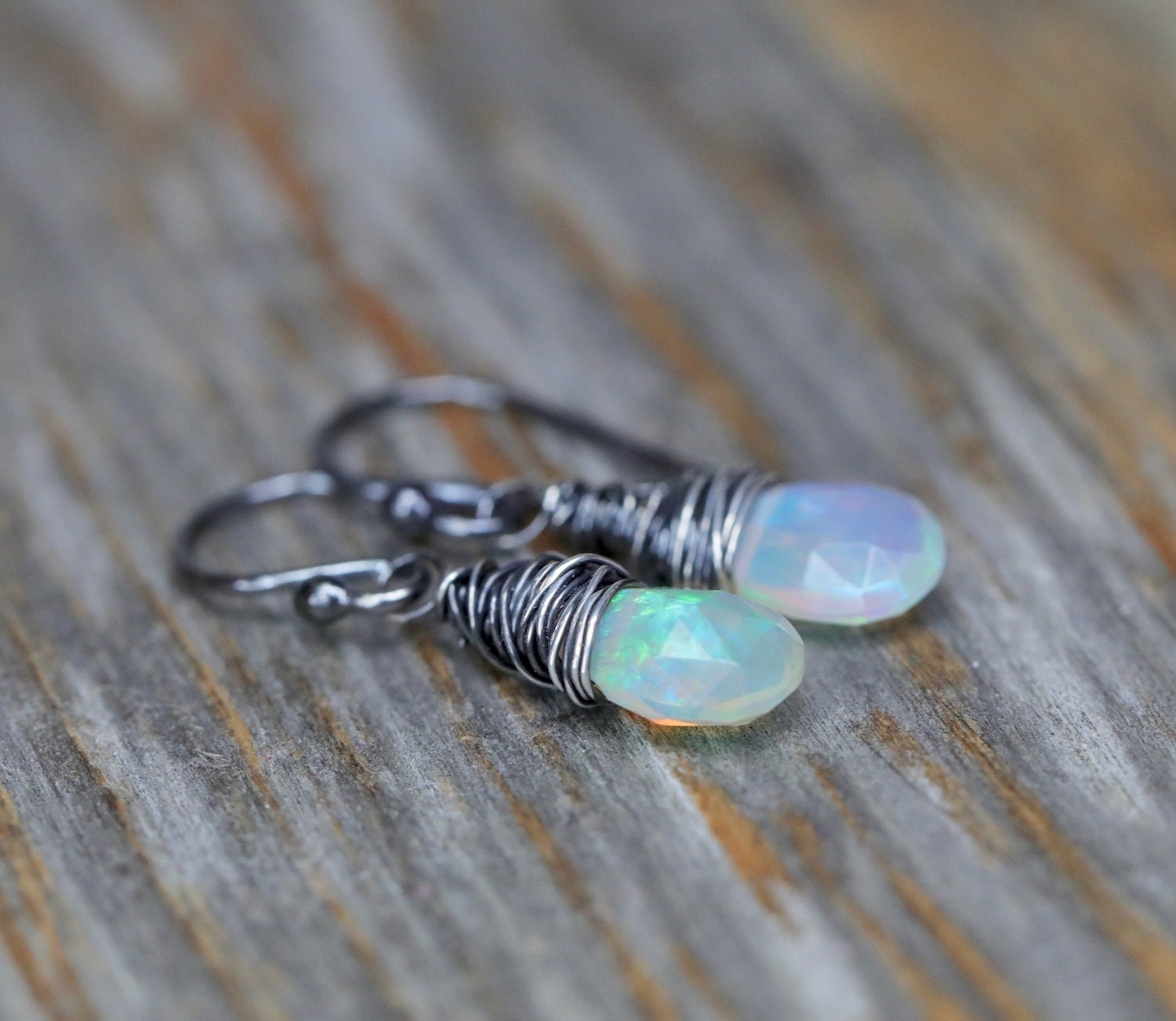 Opal Earring Faceted White Drop October Birthstone Birthday Gift For Her Ethiopian Sterling Silver Oxidized