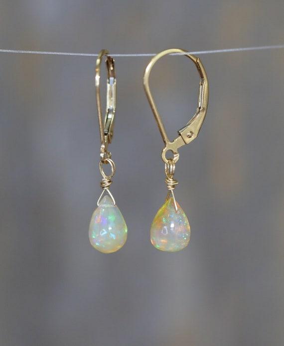 Opal Teardrop Earrings*Ethiopian Welo Opal*October Birthday Gift*Fire Opal Earrings*Boho Opal Gemstone Earrings*14k Gold Filled