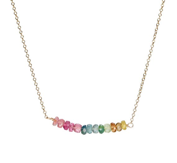 tourmaline necklace rainbow tourmaline bar necklace 14 karat gold filled gifts for her October birthstone Watermelon tourmaline Rainbow