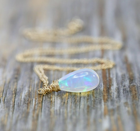 Genuine Opal Drop Necklace*14k Gold *Ethiopian Opal Gemstone* 3 CARATS* October Birthstone Women's Jewelry Holiday Christmas Gift Idea