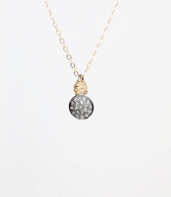 Tiny Diamond Disc Necklace- Mixed Metal- pave diamond oxidized sterling silver disc Pendant- Git for Her- Graduation- Mother's day- Festival