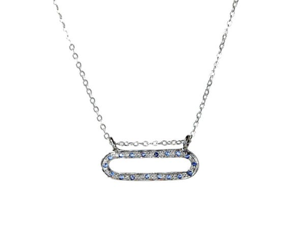 Shimmering Ray of Light Necklace *Pave Blue Sapphire oval* Sterling Silver