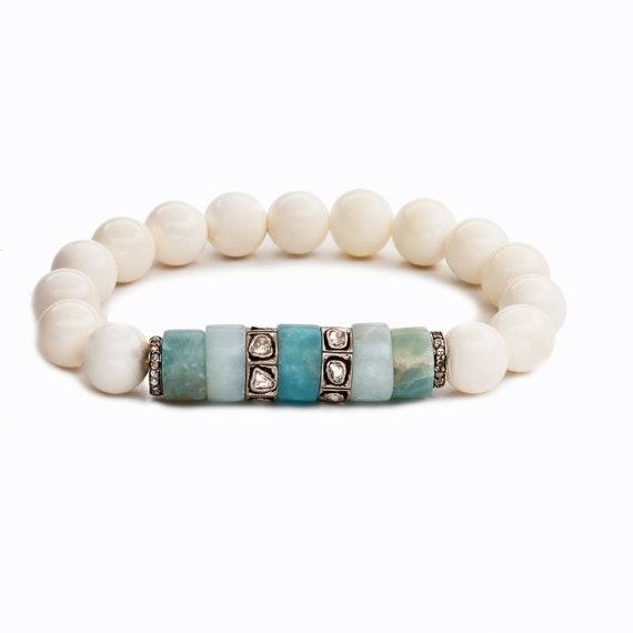 Blue Amazonite Diamond Stretch Bracelet* Genuine polki pave diamonds oxidized sterling silver Women's Gift diamond bracelet beaded