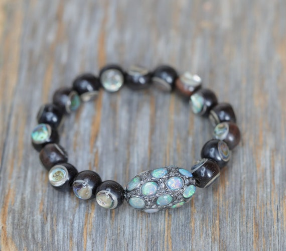 Opal Diamond Bracelet*abalone wood bracelet pave diamond* October Birthstone birthday Gift for Her* Boho Stack Bracelet